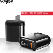 Vogek Quick Charge 3.0 QC PD Charger 18W QC3.0 USB Type C Fa