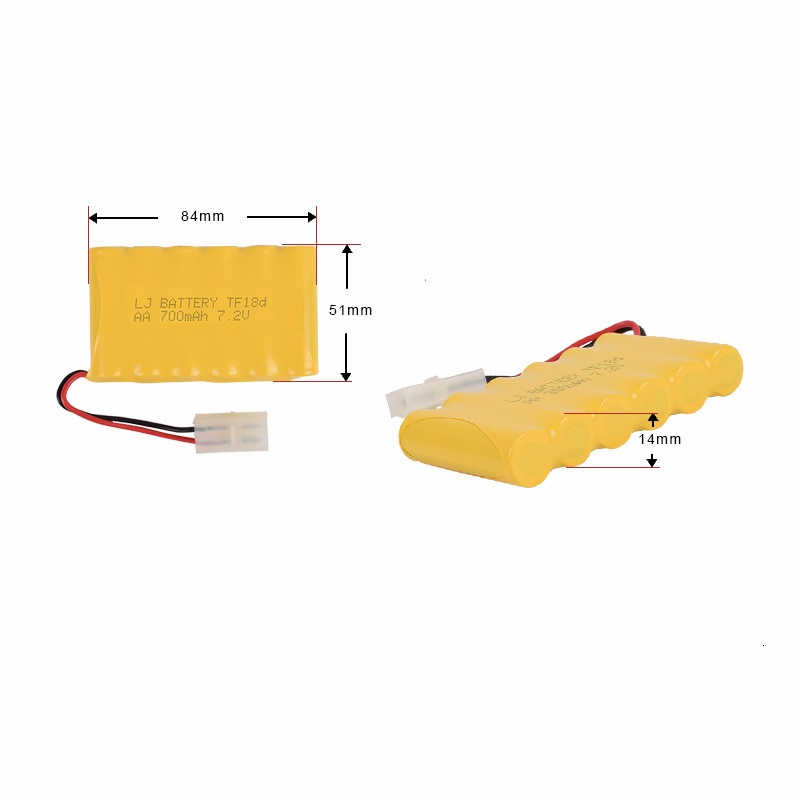 Upgrade 7.2v 700mah NiCD Battery For Rc Toys Cars Tanks Truck RC Robots Guns Boats AA 7.2v Rechargeable Battery 1pcs to 10 pcs