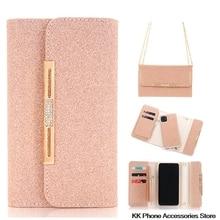 Glitter Crossbody Fall Für iPhone SE 2020 11 Pro Max 6 6s 7 8 Plus X XR Flip Leder dame Schulter Tasche Abnehmbare Telefon Fällen