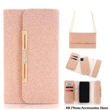 Блестящий чехол книжка через плечо для iPhone SE 2020 11 Pro Max 6 6s 7 8 Plus X XR, кожаная женская сумка на плечо, съемные чехлы для телефонов