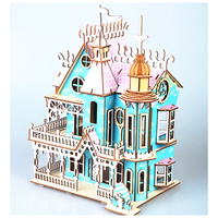 DIY Model toys 3D Wooden Puzzle Dream Villa Wooden Kits Puzzle Game Assembling Toys Gift for Kids Adult P48
