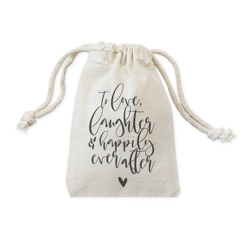 Customize Heart Cotton Wedding Party Bag To Love Laughter And Happily Kit Bags Candy Treat Bag Pouch Bachelorette Favor Gift Bag