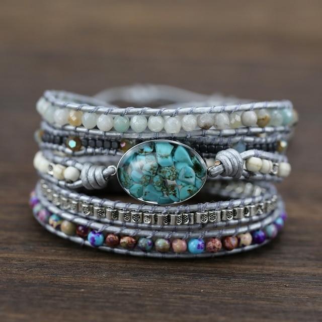 New unique mixed natural stones charm 5 strands wrap bracelets for women handmade boho bracelet leather bracelet gift jewelry