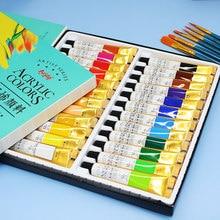 Peintures acryliques de 12/18/24 couleurs, pinceaux professionnels 12 ml, ensemble de tubes pour les artistes, dessin pigment, peint à la main ou peinture murale pour le bricolage