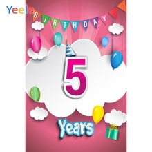 цена Yeele 5th Birthday Party Photocall Cloud Gift Decor Photography Backdrops Personalized Photographic Backgrounds For Photo Studio