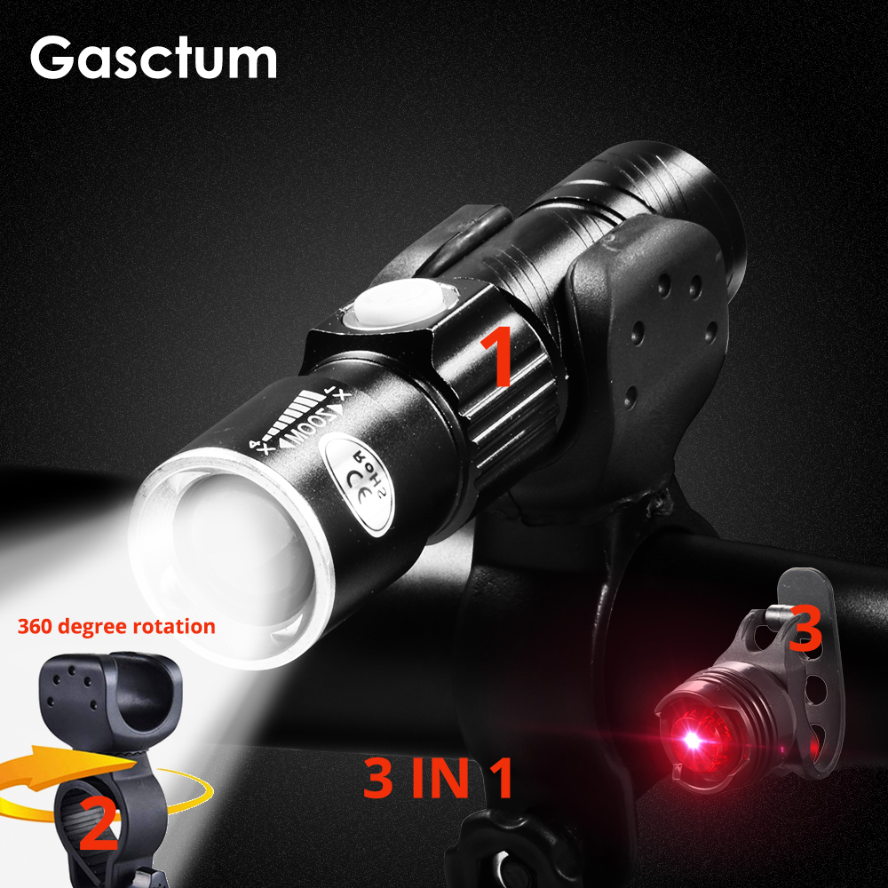 8000 Lumen Bike Bicycle Light Set USB Rechargeable LED Waterproof Super Bright Zoom Headlight Rear Light MTB Bike Light