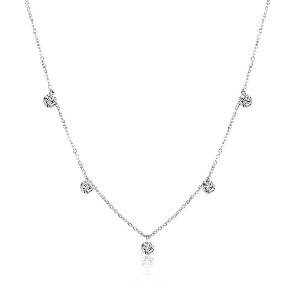 BELAWANG Luxury 925 Silver Coker Rhinestone Pendant Necklace Round Crystal Women Chain Sterling-Silver-Jewelry