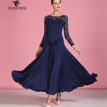 ballroom dance dress girl adult junior standard ballroom dance dress for ladies lace long sleeve lace navy blue s9064