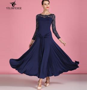 Платье для бальных танцев для взрослых и девочек, стандартное платье для бальных танцев для женщин, кружевное платье с длинным рукавом темн...