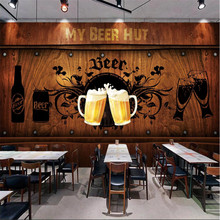 European and American Style Retro Wood Board Background Beer Mural Wallpaper Restaurant Bar KTV Industrial Decor Wall Paper 3D