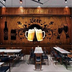 Image 1 - 유럽과 미국 스타일의 복고풍 나무 보드 배경 맥주 벽화 벽지 레스토랑 바 KTV 산업 장식 벽 종이 3D