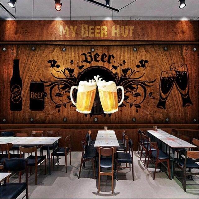 유럽과 미국 스타일의 복고풍 나무 보드 배경 맥주 벽화 벽지 레스토랑 바 KTV 산업 장식 벽 종이 3D