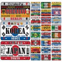 Винтаж плакат из металла наклейки в ретро стиле разных стран