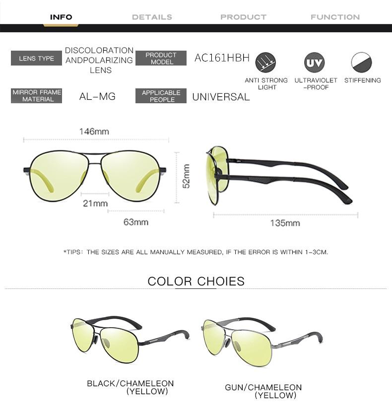 H96286282b96545b595d575a28913ef914 2020 Aviation Driving Photo chromic Sunglasses Men Polarized Eyewear Glasses Women Day Night Vision