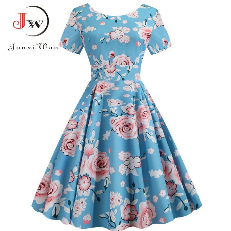 Women Short Sleeve Floral Print Vintage Dress 2019 Summer Elegant Office Party Casual A-Line Midi Dress Vestidos Plus Size Robe