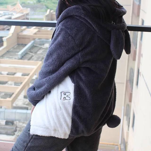 New Harajuku Totoro Kawaii Hoodie Sweatshirt My Neighbor Coat Cosplay Fleece Overcoat With Ears Harajuku Cute Jackets Christmas 5