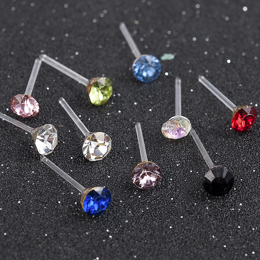 20 Pairs/Set 2mm,3mm,4mm,5mm Fashion Color White Crystal Prevent Allergy Cute Ear Stud Earrings Women Jewelry Festival Gift