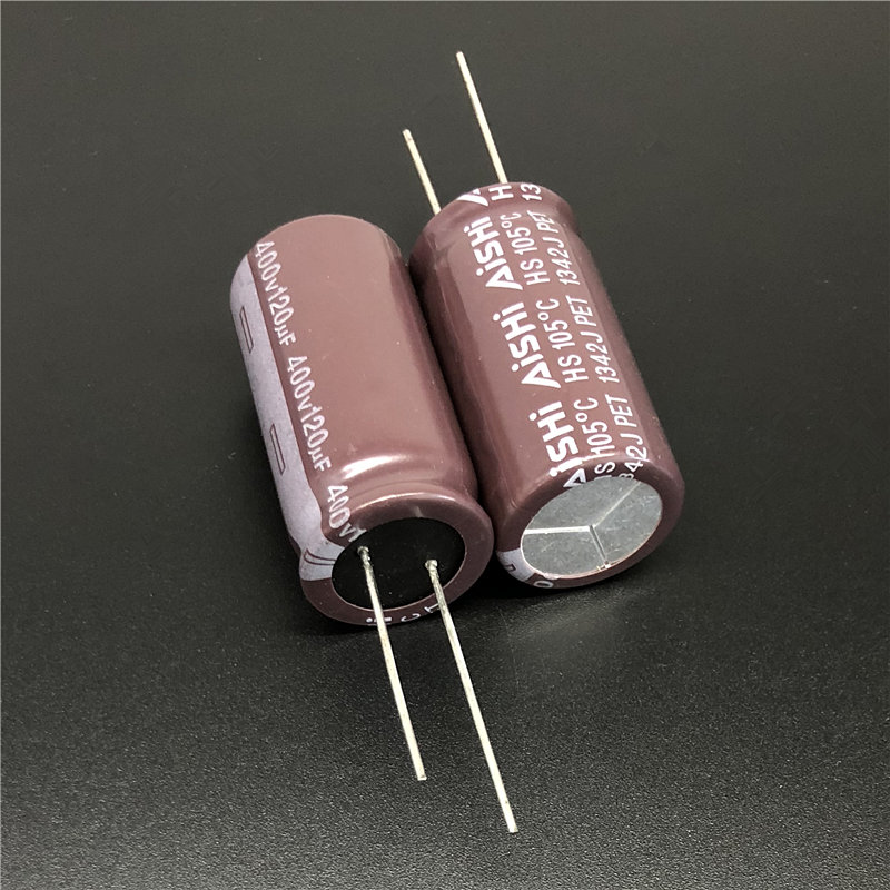 2Pcs/10Pcs 120uF 400V Aishi HS Series 18x35mm Long Life 400V120uF For Power Supply Electrolytic Capacitor