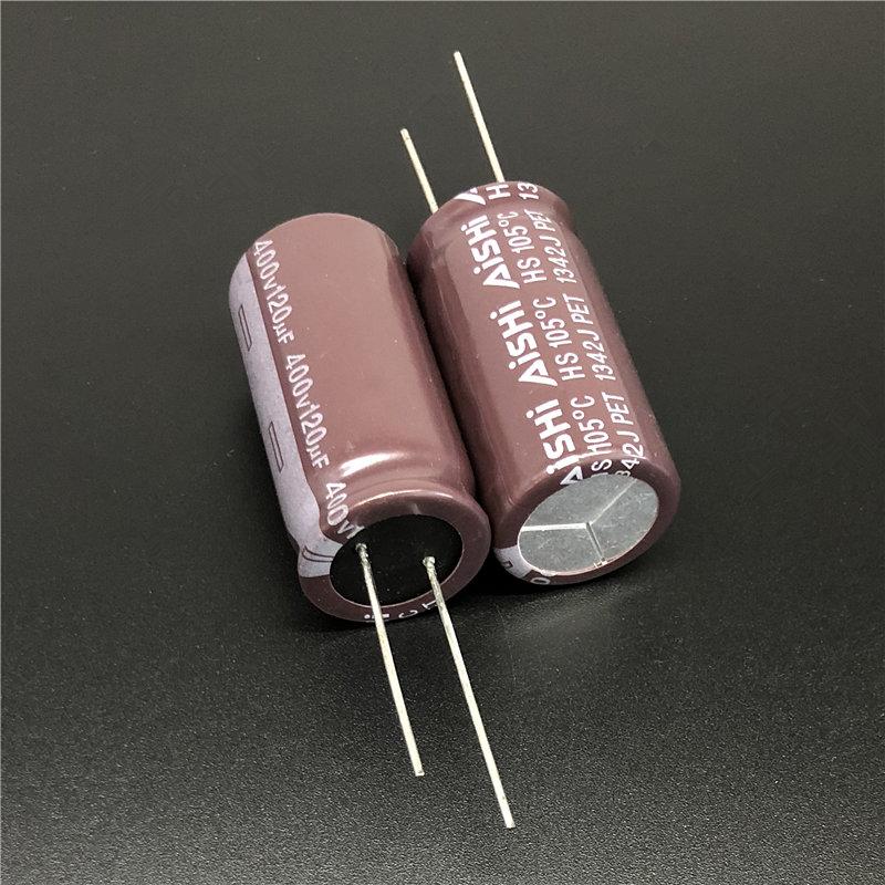 2Pcs/10Pcs 120uF 400V Aishi HS Series 18x35mm Long Life 400V120uF For Power Supply Electrolytic Capacitor