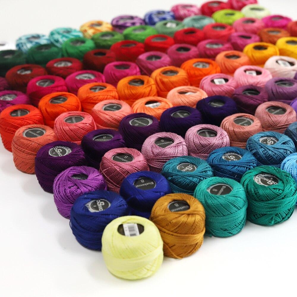 100 цветов, жемчужная хлопковая нить, размер 8, вышивка, вязание крючком, кружево, 5 грамм, двойная Мерсеризация, Египетский хлопок, 40 метров