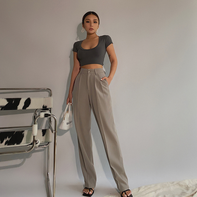 Spring New Office Lady High Quality Elegant Casual Fashion Wide Leg Women Female Pants Hot Sales 1