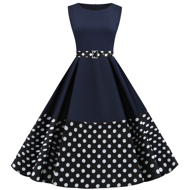 80s navy blue polka dot dress from oslo  retro strappy dress made in norway  zipper dress casual  summer wide country dress size 40-42