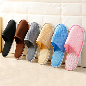 Classic Home Hotel Disposable Slippers Indoor Home Mesh Cloth Slippers Solid Color Portable Slippers Home Travel Shoes Men Women