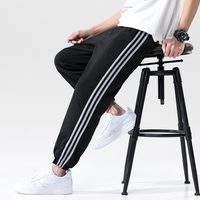 Спортивный костюм мужской тонкий, серые мешковатые штаны, повседневные брюки с тремя полосками, штаны на завязках, на лето