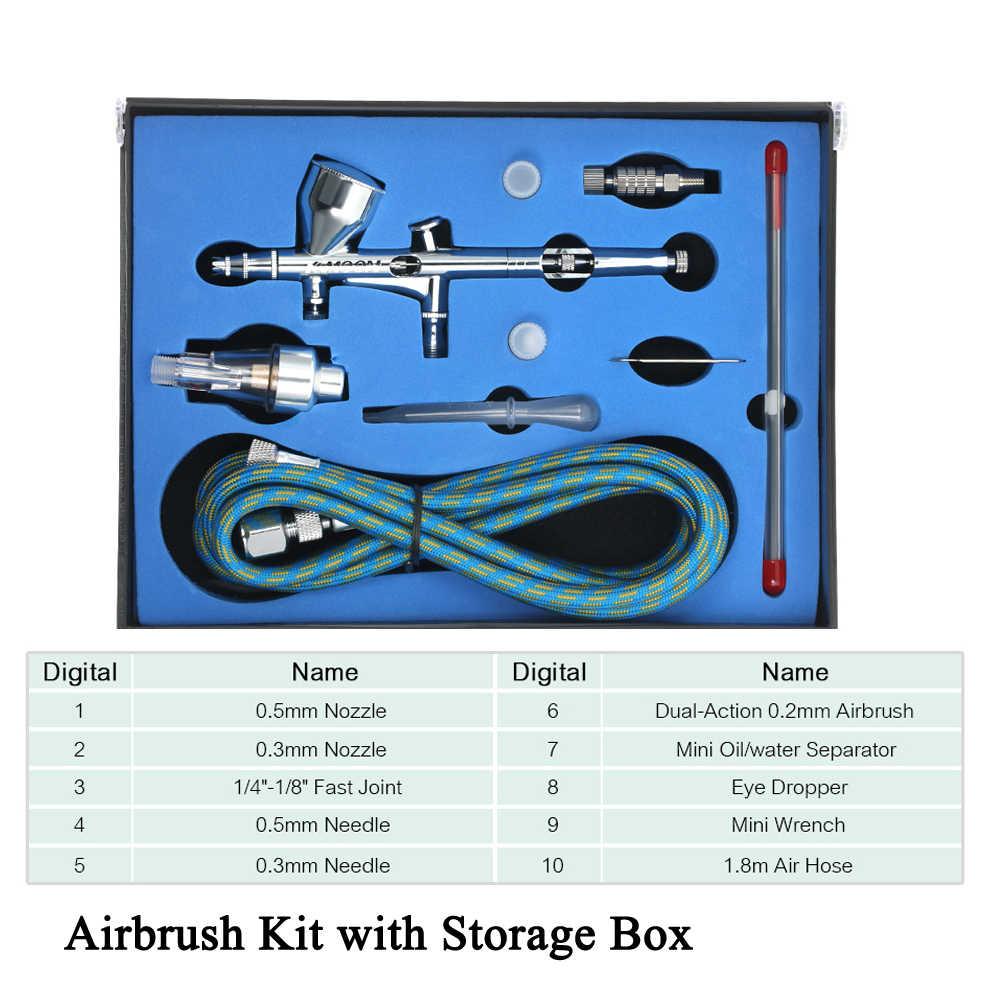 Dual Action Gravity Feed Airbrush Kit dengan 1.8 M Selang 0.3 Mm/0.5 Mm Jarum 9cc Cangkir Air Brush spray Gun untuk Seni Lukisan Manikur