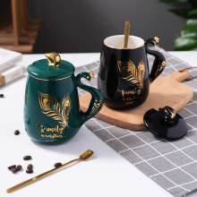 Peacock shape water cup large capacity mug with lid spoon creative personality tea cup ceramic coffee cup latte milk mug peacock shape water cup large capacity mug with lid spoon creative personality tea cup ceramic coffee cup latte milk mug