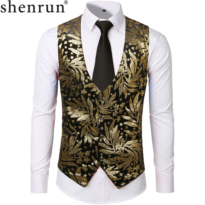 Shenrun Men Vests Casual Waistcoat Velvet Single Breasted Gold Stamp Floral Fashion Print Stage Show Dress Singer Host Costumes
