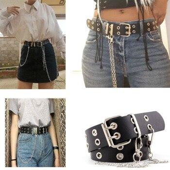 Women Punk Chain Fashion Belt Adjustable Double/Single Row Hole Eyelet Waistband with Eyelet Chain Decorative Belts 2019 New 2