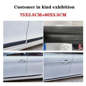 Image 2 - 4 adet evrensel tam siyah araba gövde/yan kapı anti çarpışma Anti scratch dekorasyon koruyucu yapışkan şerit araba Sticker