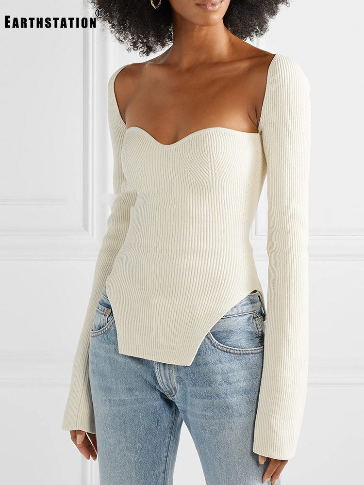 Square Collar Sexy Leaky Clavicle Tight Stretch Knit Base Sweater Lady Autumn And Winter Irregular Hem Wild Top