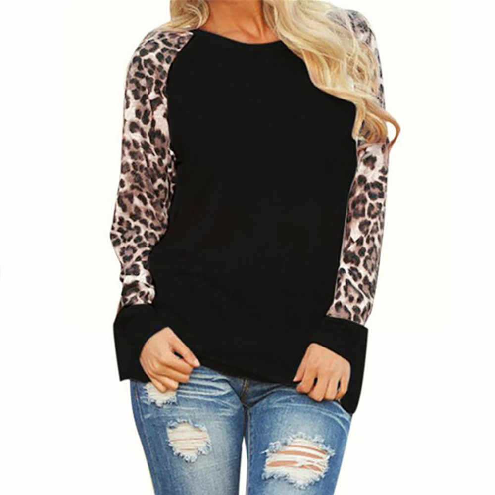 Nowa jesienna damska topy i koszulki Leopard z długim rękawem moda damska koszulka Oversize Tees Plus rozmiar S-5XL 8 kolory camiseta mujer
