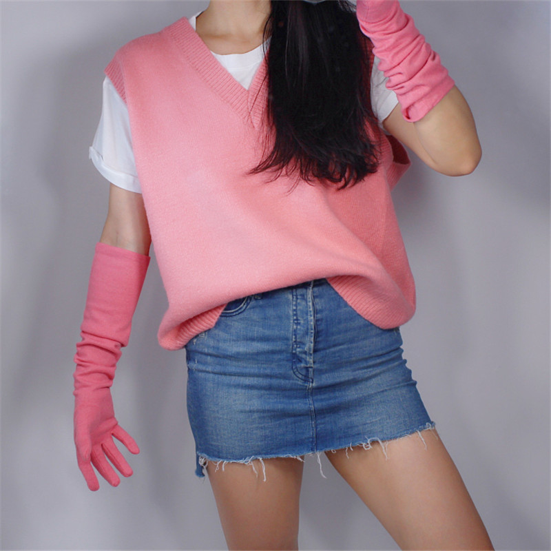 Cashmere Gloves Long Section 50cm Over Elbow Elastic Wool Tweed Small Fragrant Wind Cherry Pink Light Pink Female WYR06
