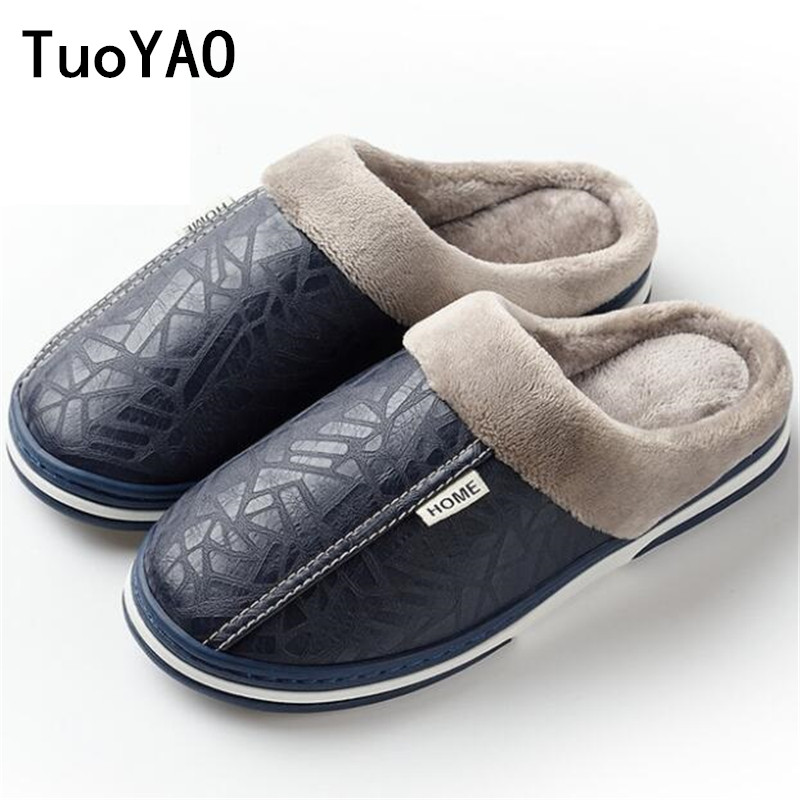2019 Men's Slippers Winter Leather Thick With Plush Home Waterproof Flats Warm Indoor Shoes Non-slip Slippers Lovers Fur Shoes