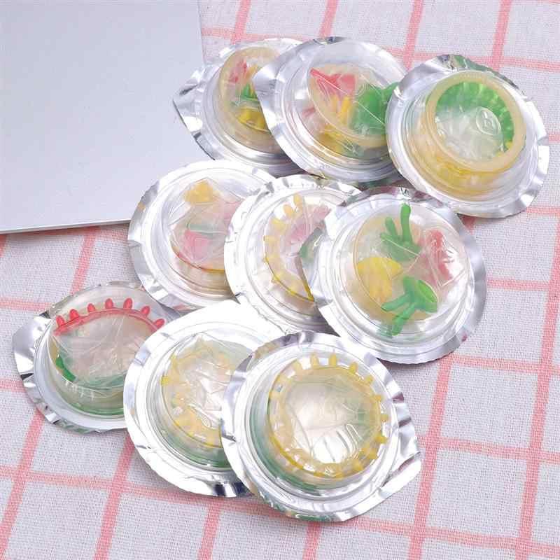12 Pcs Mainan Seks Bunga Berwarna-warni Kondom Aman Penis Lengan Orang Dewasa Kehidupan Seks Perlengkapan Ultra Tipis Produk Kesehatan (kecil Bunga)