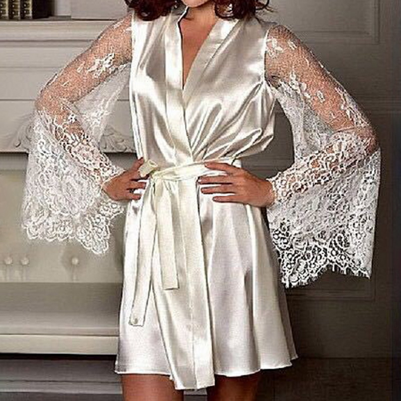 Women Fashion Sexy Pajama Dress Long Sleeve Silk Lace Nightgown With Belt Sleepwear Robe Satin Women Bathrobes Night Gown Loose