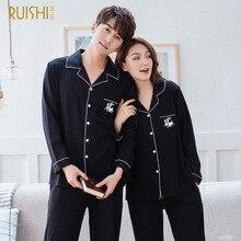 J&Q Couple Sleepwear 2019 Spring Modal Cotton Pajamas Sleeping Suits for Men Solid Lapel Men and Women Couple Set Home Wear Suit