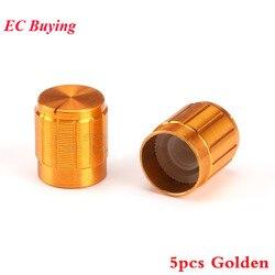 Perilla de potenciómetro de aluminio, tapa de 15MM, 15x16,5mm, Color dorado, tapas coloridas, componente electrónico, 5 uds.