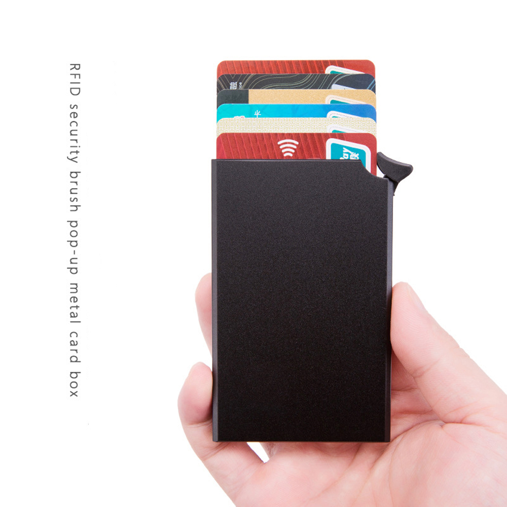 H962950942dc84240bae625ee09328997r - RFID Anti-theft Smart Wallet Thin ID Card Holder Unisex Automatically Solid Metal Bank Credit Card Holder Business Mini