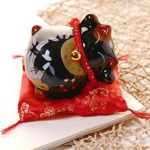 Feng Shui Porcelain-Decoration Piggy-Bank Ceramic Business-Gift Home Lucky-Cat Black/white