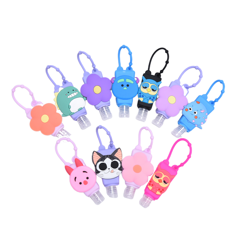 30ML Portable Cute Flower Animal Silicone Cartoon Owl Bath Shower Hand Sanitizer Bottle Holder