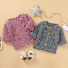 Infant Newborn Baby Girl Clothes Solid Handmade Bubble Ball knitted Cardigan Autumn Winter Warm Outfits Sweater Outcoat