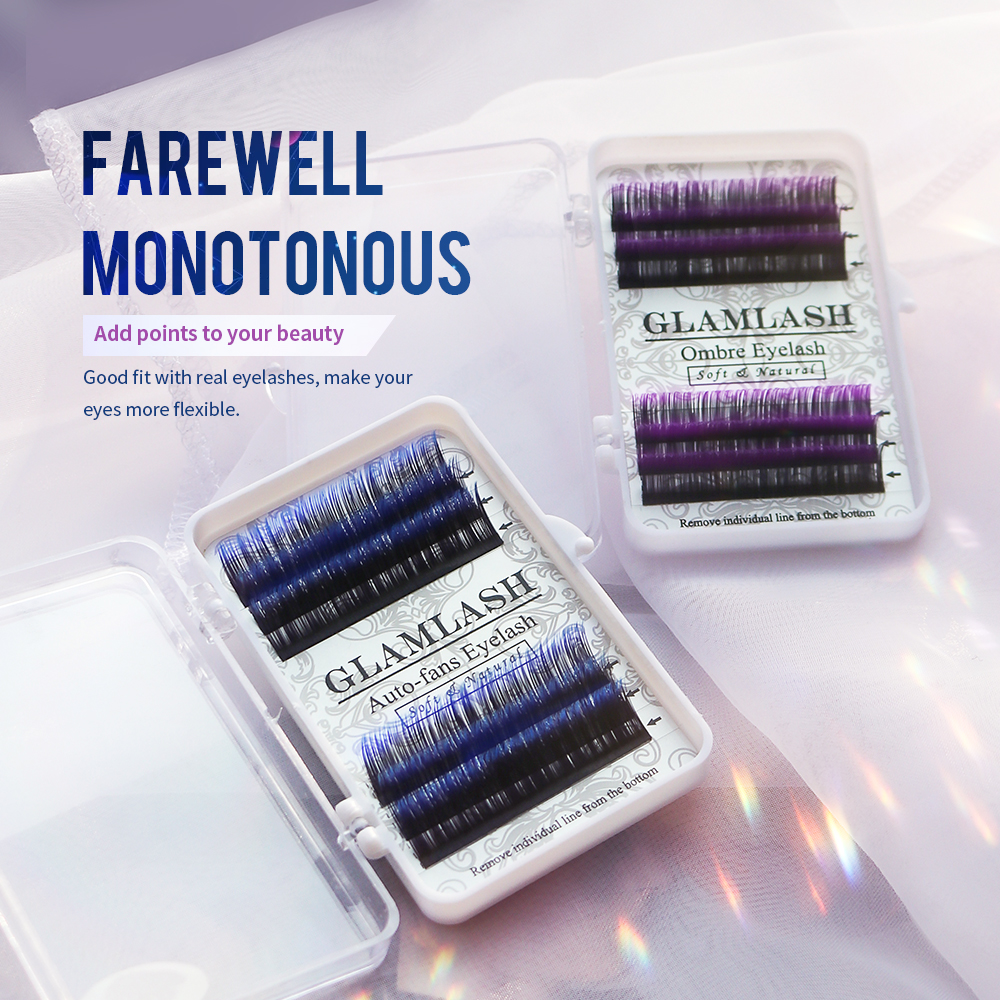 GLAMLASH Individual Faux Mink Eyelashes Extension Ombre Natural Lash Blue Color False Eyelashes Premium Soft Salon Makeup Tools