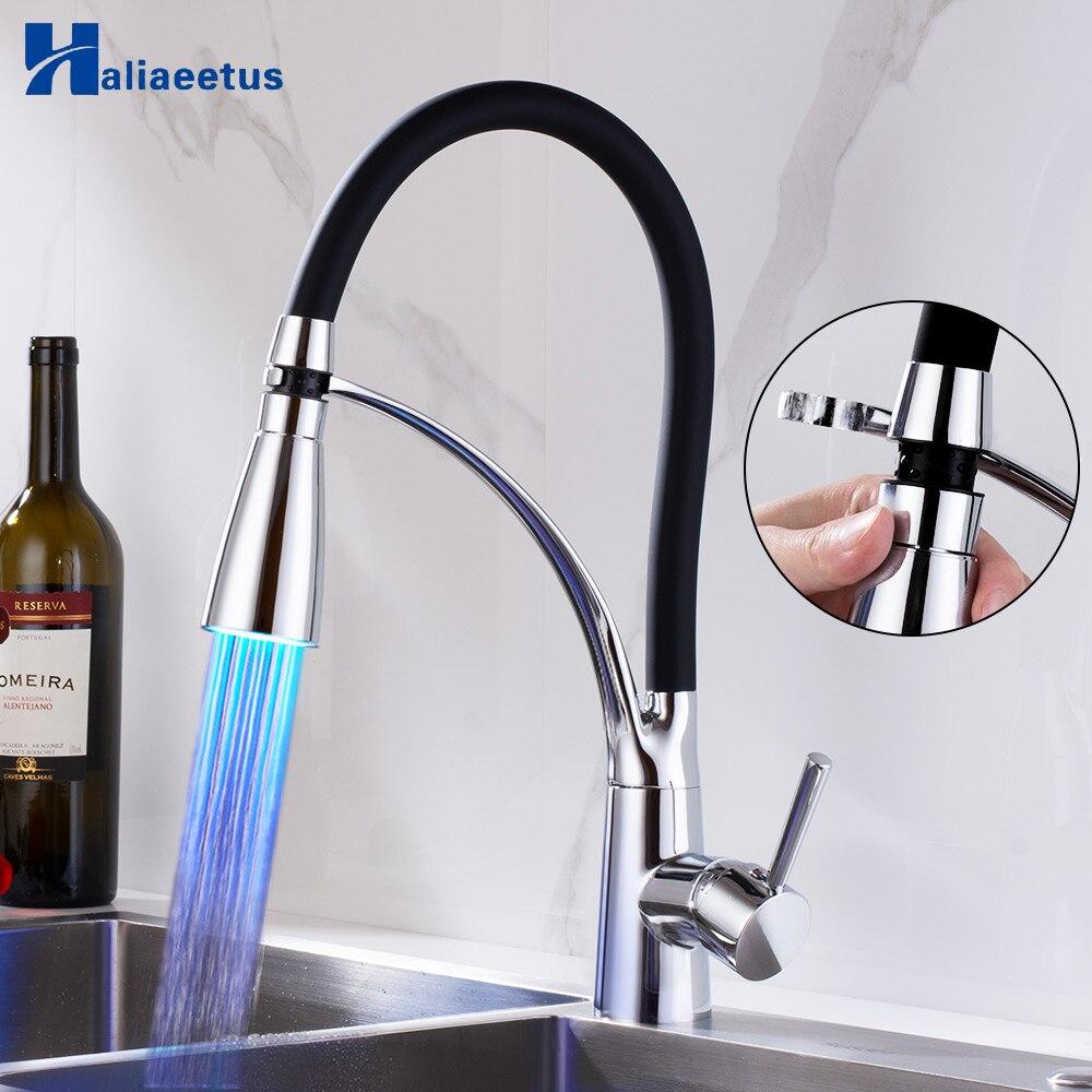 Kuchnia wyciągany kran z LED światła chrom 360 obrotowy kran kuchenny dwie funkcje zimna i ciepła wody bateria kuchenna