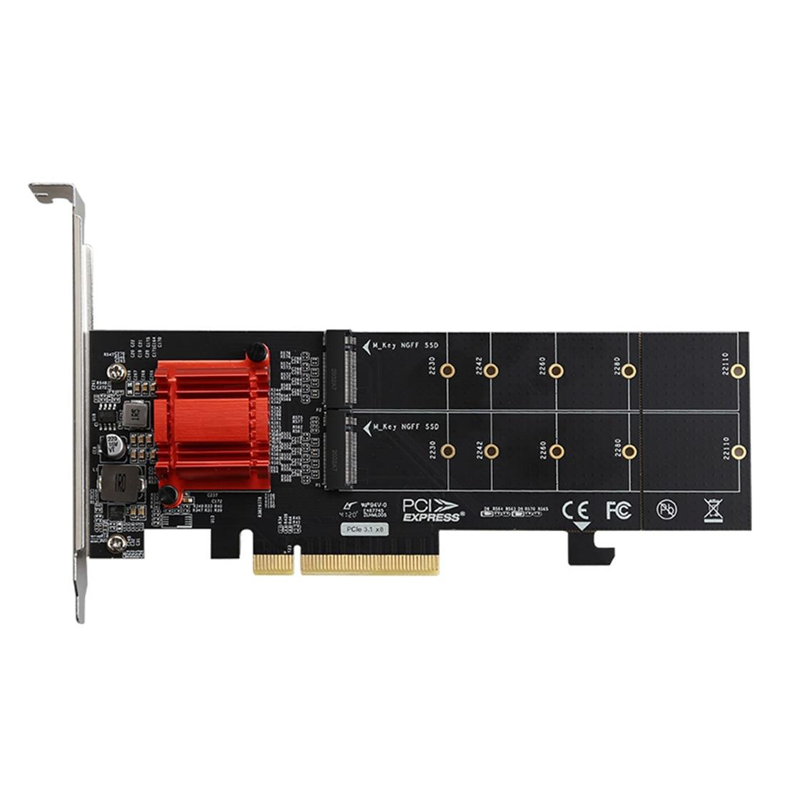 DIEWU TXB122 PCIe 3,1x8 ASM1812 до 2 портов M.2 SSD адаптер карта расширения двойной M-key конвертер PCI-E для NVME 2230-22110 SSD