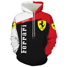 New Ferrari logo 3D printing spring and summer fashion hoodie men and women sweatshirt brand pullover outdoor jogging suit S-6XL