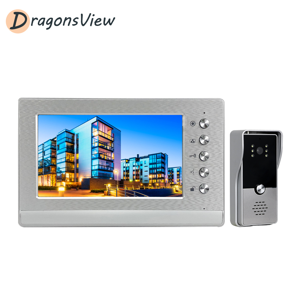 Dragonsview Video Intercom 7'' Indoor Monitor Wired 1000 TVL Visual Door Phone Doorbell Kit For Homes Business Day Night Vision